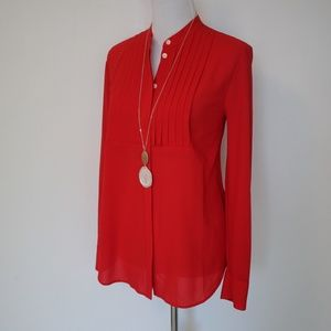 J. CREW Size Medium Red Long Sleeve Blouse
